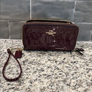 Coach Wristlet Maroon and Gold